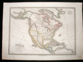 Lorrain 1839 Antique Hand Colored Map. North America. Independent Texas